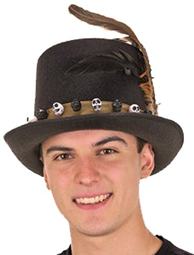 Men's 6 Inch Deluxe Voodoo Witch Doctor Hat with Green Satin (Voodoo Hat)