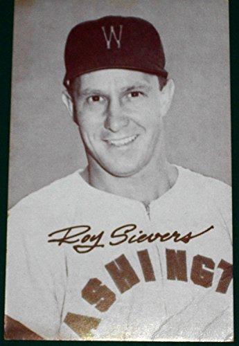 1947-66 Exhibits Arcade BB-Roy Sievers- Washington Senators- Blank Back- Variety: Light background with 'W' on cap.- (Exhibit Arcade)