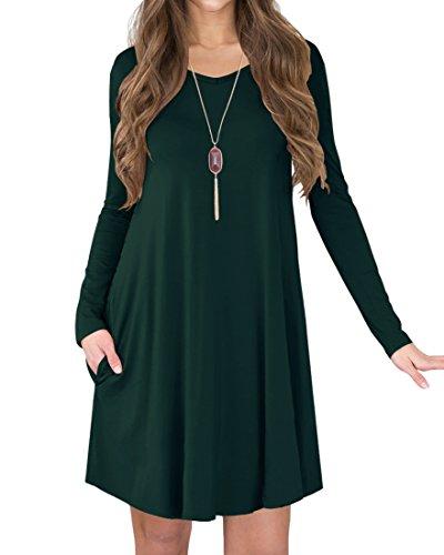 Jouica Women's Long Sleeves Casual Loose T-Shirt Dress (Dark Green - T-shirt Womens Dress Darks