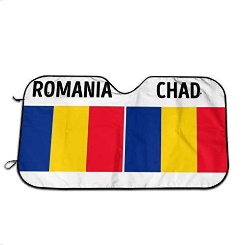 (Romania Chad Flag Pattern Windshield Sun Shades Summer Blocks UV Rays Automotive Sunshade Long-Lasting Waterproof Sunshiled Cover Easy Set with Elastic Strap Protecting Your Car from High Heat)