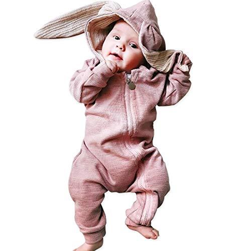 (Simplee Kids Animal Bunny Baby Girl Easter Pajamas Long Ear Rabbit Hooded Romper (Pink))