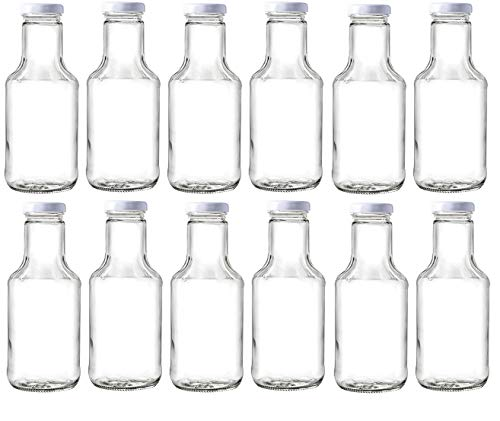 - Nakpunar 14 oz Wide Mouth Empty Glass Bottles with Lids for Oil, BBQ Sauces, Milk, Water, Beverages (12, White)