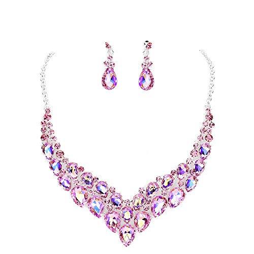 Affordable Wedding Jewelry Chunky Statement Women Austrian Crystal Chandelier Teardrop Earrings Chain Pageant Bride Prom Necklace Set ()