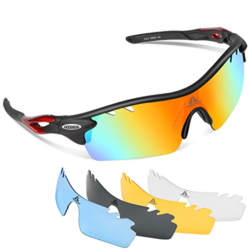 2db2d24ccc9 HODGSON Polarized Sports Sunglasses with 5 Interchangeable Lenses for Men  Women Cycling Baseball Running Glasses