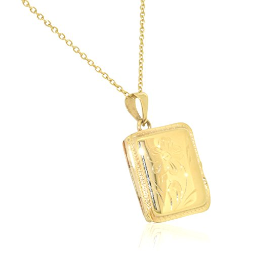 14K Yellow Gold Rectangular Locket Pendant