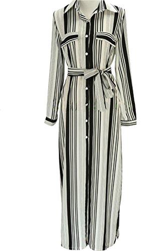 Damen v-neck Streifen Schlitz Shirt Kleid Maxikleid