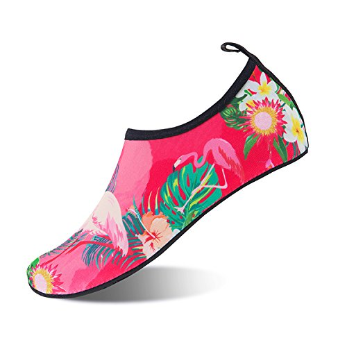 Mens Womens Water Shoes Barefoot Beach Pool Shoes Quick-Dry Aqua Yoga Socks for Surf Swim Water Sport (Flamingos, (Sharp Flamingo)