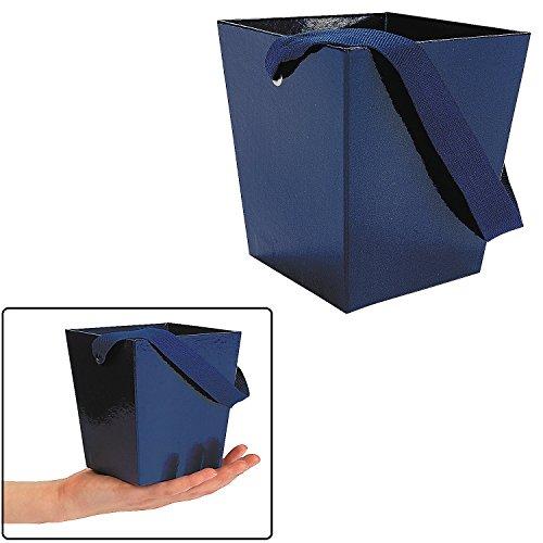 Blue Cardboard Bucket with Ribbon Handle  Dark Navy Blue.
