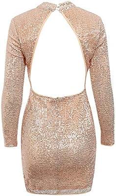 D Jill Womens Sequin Backless Turtleneck Long Sleeve Bodycon Party Club Mini Dress