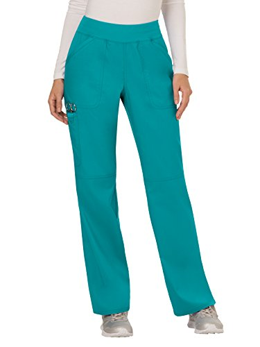 Cherokee Women's Mid Rise Straight Leg Pull-on Pant, Teal Blue, - Four Cherokee