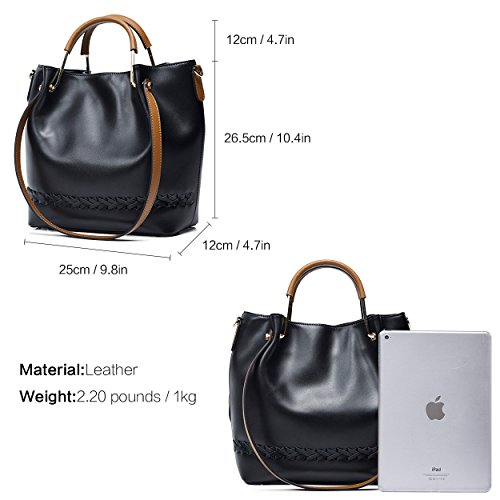 Ladies Handbag Black Large Boyatu Shoulder Desinger Bucket Leather Capacity Tote A7ddWpxSwq