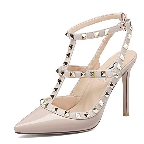 Chris-T Women Pointed Toe Stilettos Sandals Studded Strappy Slingback High Heel Leather Pumps Nude Patent Size 7