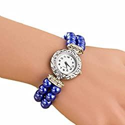 AmyDong Pearl Fashion Student Beautiful Watch Womens Classic Gold Quartz Stainless Steel Wrist Watch Bracelet (Blue)