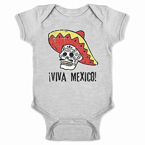 Viva Mexico Day of The Dead Sugar Skull Mariachi Gray 6M Infant Bodysuit -