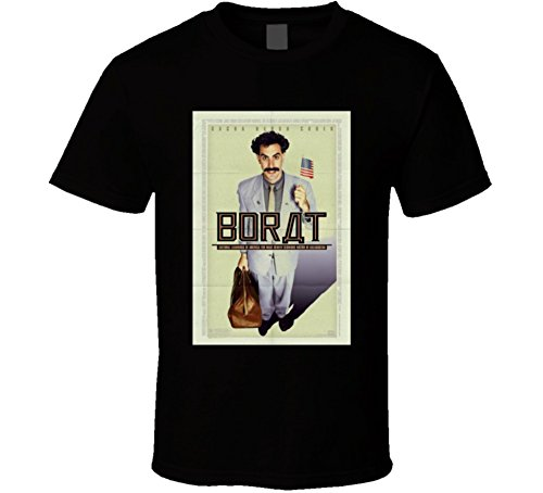 Shirts Borat Tee - Borat Cool 21st Century Comedy Classic Movie Poster Fan T Shirt L Black