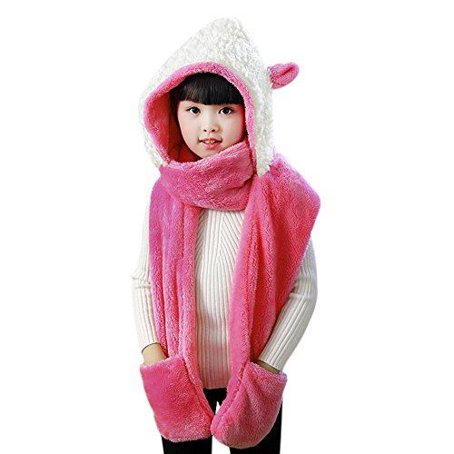 (Kids Teens 3 in 1 Cute Cartoon Winter Hats Scarf Mitten Gloves Set Toddler Girls Thick Warm Plush Fluffy Earmuff Hoodie Cap Snood Wraps Baby Child Long Scarves Neckerchief with Pocket Gloves Combo)
