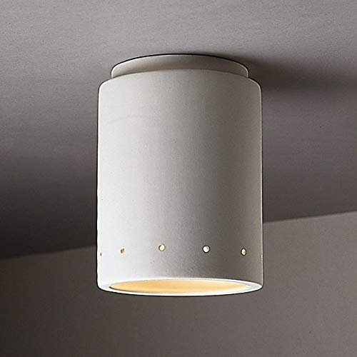 Justice Design Group Perferated Cylinder Ceramic Outdoor 1-Light Flush Mount
