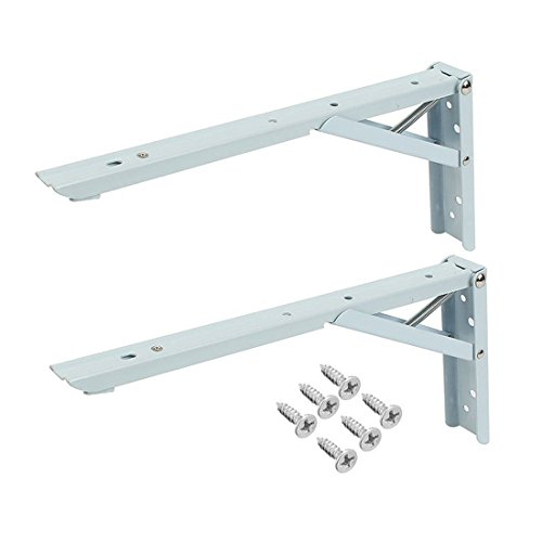 Rannb 2pcs 10Inch Right Angle Spring Loaded Folding Support Shelf Bracket Max Load 220lbs for Undermount Sinks,Microwave, Beds and Other Furniture by Rannb