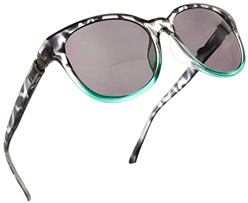 Fiore Bifocal Cateye Reading Sunglasses Readers for Women (Black/Teal, - Sunglasses Reading Black
