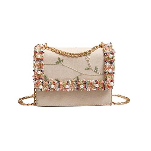4e61972378 Gaddrt Fashion Women Girl Handbags Pearl Lace Crossbody Bags Tote Shoulder  Bag Beige  Amazon.co.uk  Shoes   Bags