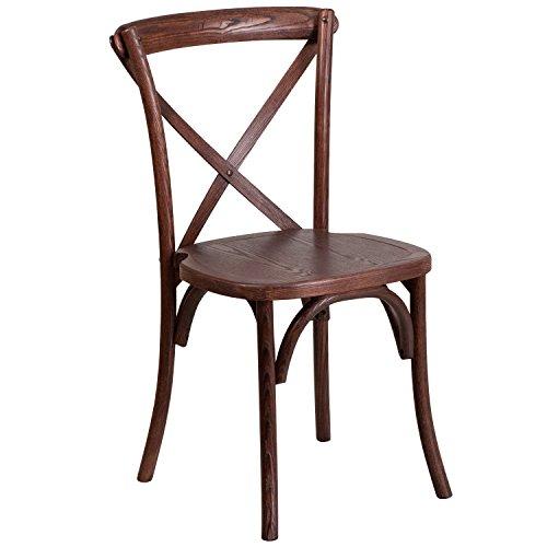 Flash Furniture HERCULES Series Stackable Mahogany Wood Cross Back Chair