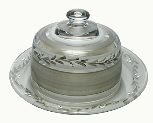 """Pewter Vine Hand Painted Glass Cheese Dome with Plate 10"""""""