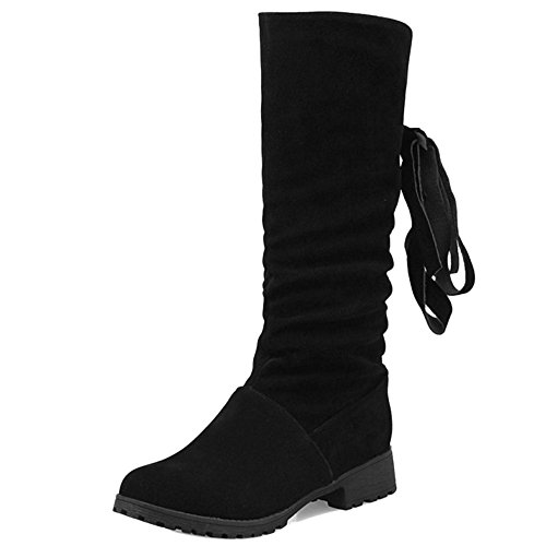 Boots High Comfort Mid H Zip Women Low Heel Black Bowknot Coolcept awqAP0x
