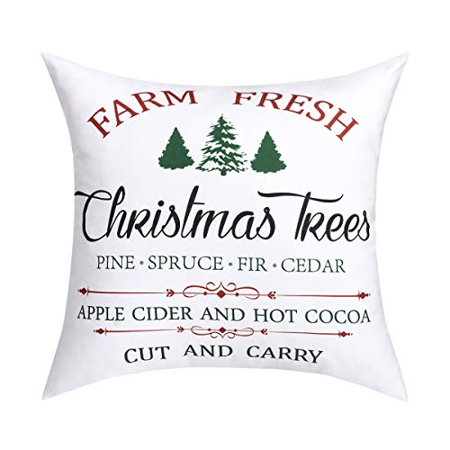 Christmas Tree Throw Pillow Cover Farm Fresh Pine Spruce Fir Cedar Apple Cider and Hot Cocoa Cut and Carry Decorative Cushion Cover Winter and Christmas Home Decor for Sofa Couch Bed and Car