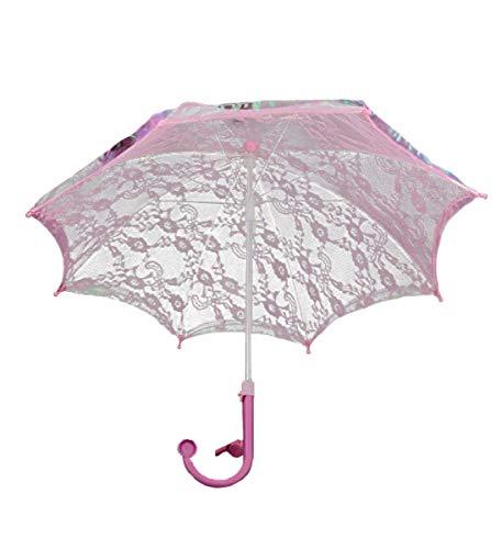 (Mozlly Girls Pink 20 Inch Elaborate Lace Umbrella Parasol w/Whistle - Tea Party Weddings)