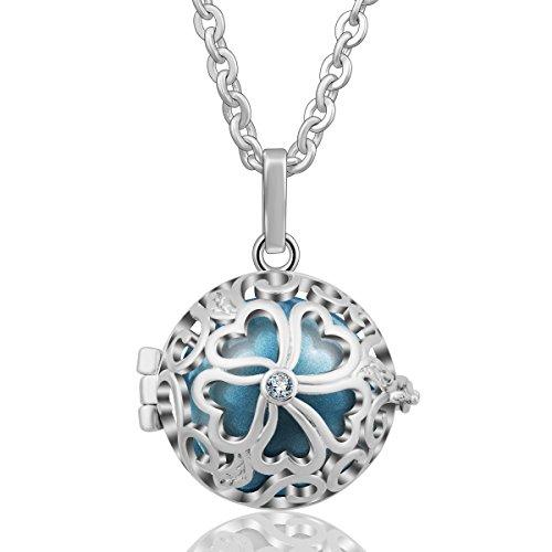 AEONSLOVE Flower Design Filigree Harmony Ball Chime Bell Pendant Necklace, Love ()