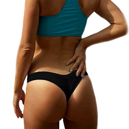 CROSS1946 Sexy Women's Bikini Thong Bottom Brazilian V Cheeky Ruched Semi Swimsuit Black Medium