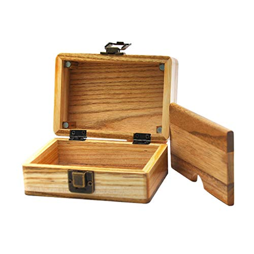 Clothful  to Half Price,Improved Design Maple Wood Rolling Paper Storage Box w/Magnetic Stash