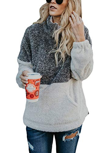 Dokotoo Womens Hoodies Cozy Loose Casual Winter Oversized Soft Fluffy Fleece Sweatshirt Pullover with Pockets Outwear Grey Small by Dokotoo