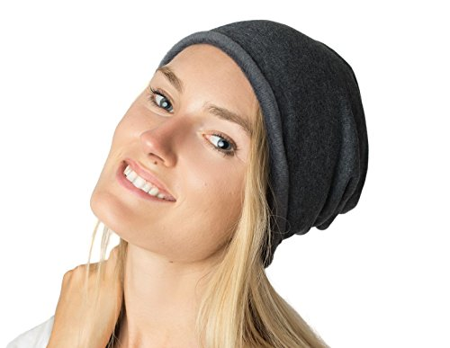 Accessory Necessary LL Unisex Warm Slouchy Stretch Soft Fleece Lined Cotton Blend Beanie Hat Solid Color (Gray)