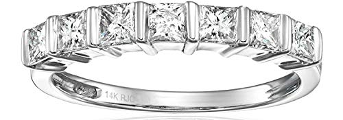 1/2 cttw Princess Cut Diamond Wedding Band 14K White Gold Size 7