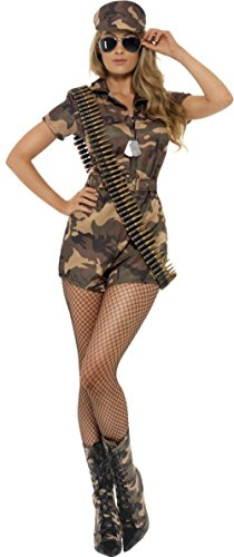 [Smiffy's Women's Army Girl Sexy Costume with Short Jumpsuit Belt and Hat, Multi, Medium] (Sexy Army Girl Costumes)