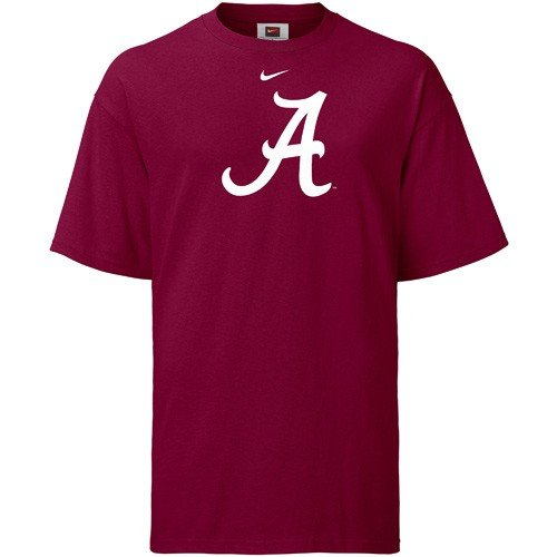 Nike Alabama Crimson Tide College Logo Classic Cotton Loose Fit Mens T-Shirt (Red, Large)