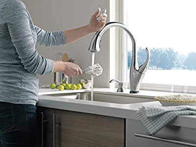 Delta Faucet Addison Single-Handle Touch Kitchen Sink Faucet with Pull Down Sprayer, Soap Dispenser, Touch2O Technology and Magnetic Docking Spray Head, Arctic Stainless 9192T-ARSD-DST