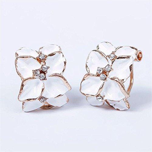 Ownsig Women Cute Gardenia Flower Crystal Rhinestone Earrings Hoop Buckle Ear Stud White Date Flowers Earrings
