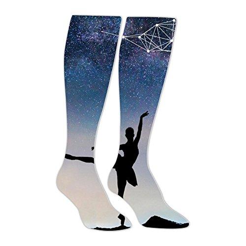 - SHNeiy Funny Dancing Girls Under The Stars Adult 3D Pattern Long Stocking Baseball Sports Crew Tube Socks