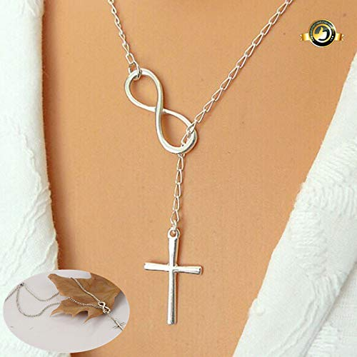 (Gbell Clearance!Girls Fashion Personality Infinity Cross Lariat Pendant Necklace Charms - Sliver Casual Neck Chain Jewellery)