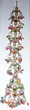 Multicolor Tikka Bollywood indio tradicional de pelo frente joyas (005)