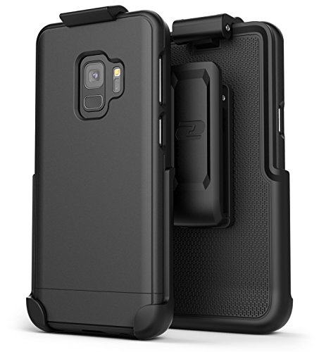 Encased Galaxy S9 Belt Case, (Slimshield Series) Ultra Thin Protective Grip Cover with Slim Holster Clip for Samsung S9 (2018 Release) Smooth Black -
