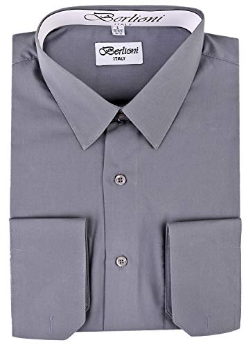 (BERLIONI Italy Men's Convertible Cuff Solid Dress Shirt Charcoal-M (15-15½) sleeve 34/35)