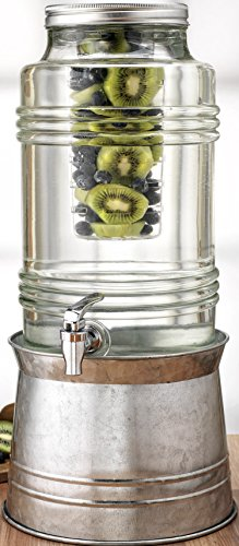 Circleware Breeze Glass Beverage Drink Dispenser with Stand Metal Base which Transforms to Metal Ice Bucket and Metal Lid + Fruit Infuser + Chrome Finished Spigot, HUGE 2.3 Gallons by Circleware (Image #2)