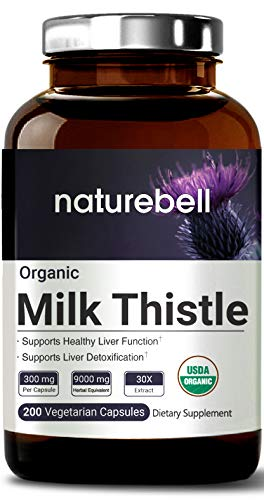 Maximum Strength Organic Milk Thistle 9,000 mg, 200 Veg Capsules, 30:1 Extract from Milk Thistle Seed, Rich in Silymarin for Liver Support, Cleanse, Detox, Non-GMO & Vegan Friendly