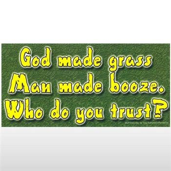 God Made Grass Bumper Sticker - Sticker Graphic - Novelty Funny Political Humor Sticker ()