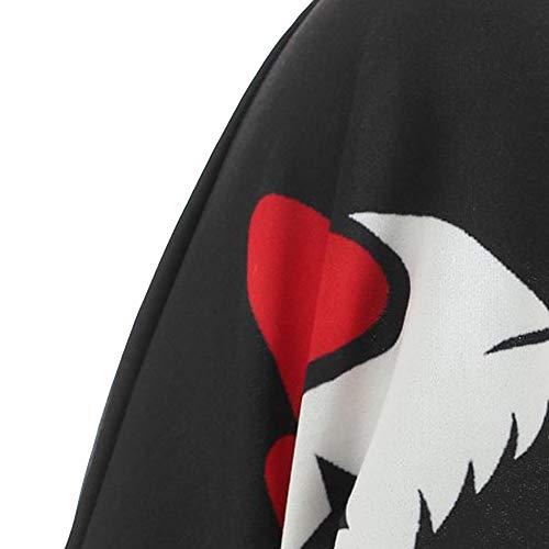 Noir Hiver Sexy Lubity Haut Sweat Simple Imprimé Bustier Col Pull Et shirt Décontracté Rond Femme Blouse Chic Crâne Automne Taille Pullover Grande wqIq7T