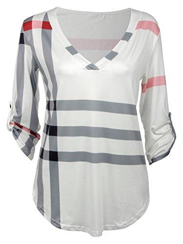 Elevesee Moda Plaid Print V-collar De Siete Mangas Camiseta Blanco