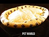 NEW PET BED -TAN w. BLACK PAW PRINTS XX LRG DOG PILLOW, My Pet Supplies